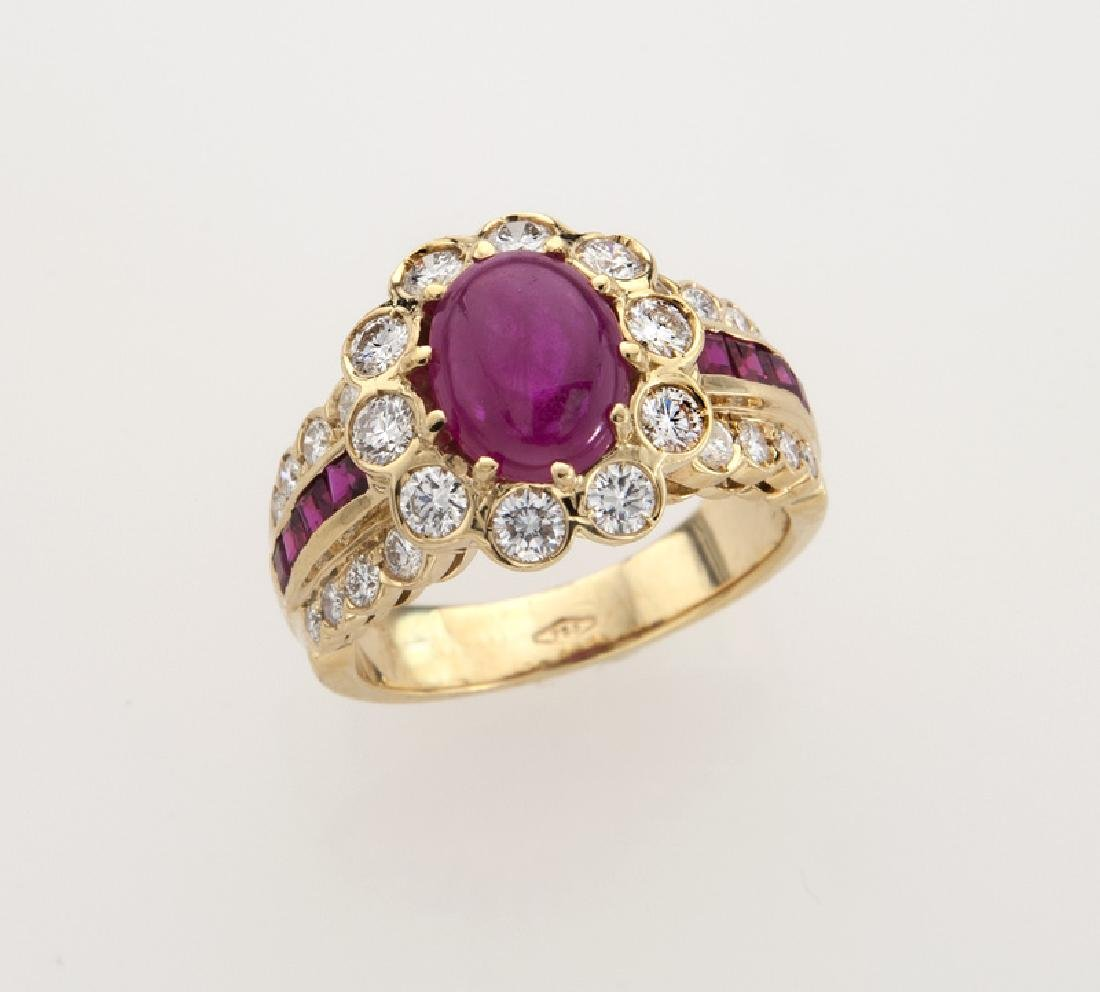 18K yellow gold, diamond and ruby ring,