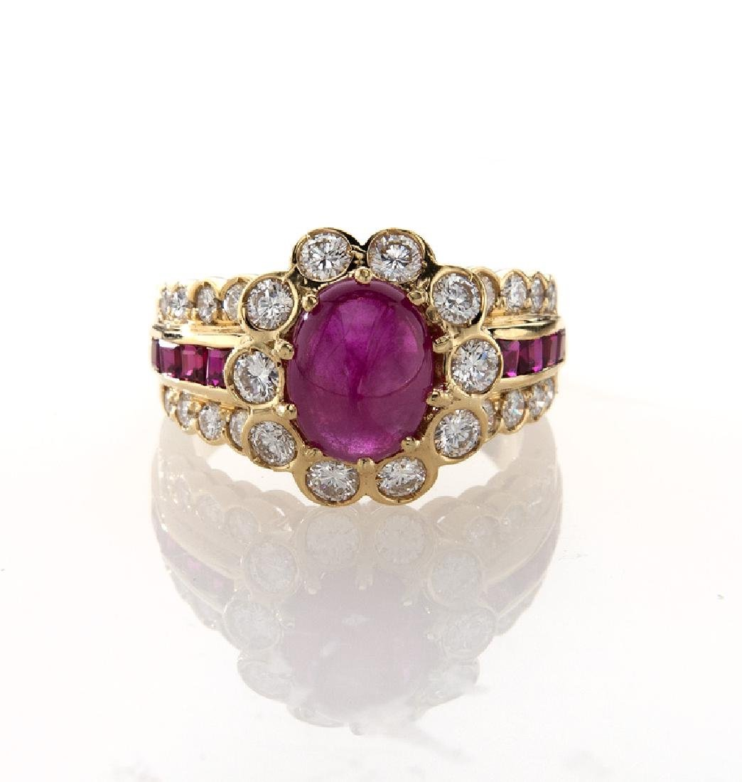 18K yellow gold, diamond and ruby ring, - 2