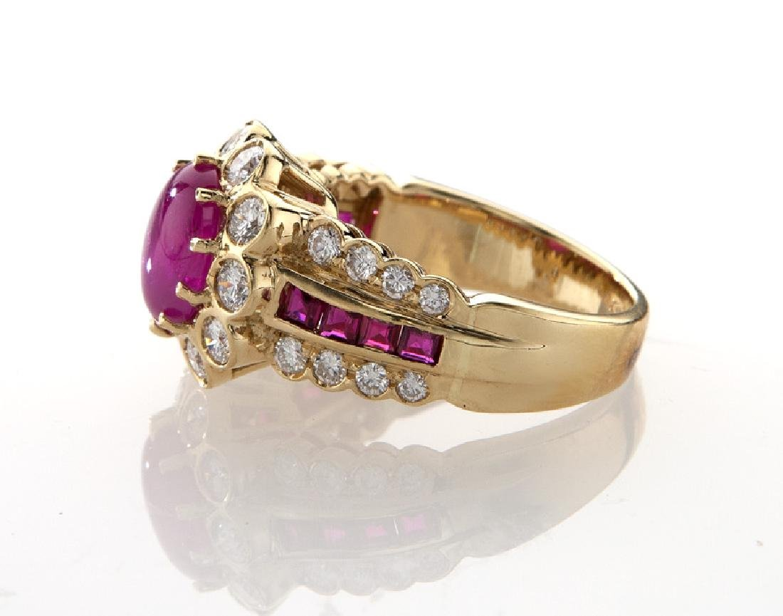 18K yellow gold, diamond and ruby ring, - 3