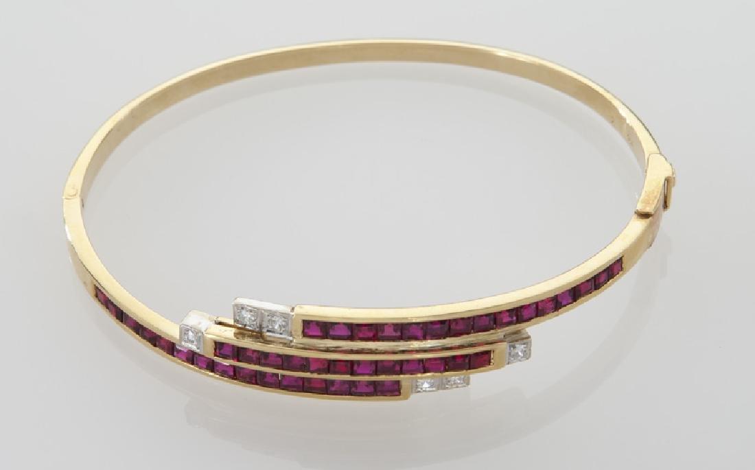18K gold, diamond and ruby triple bypass bracelet. - 2