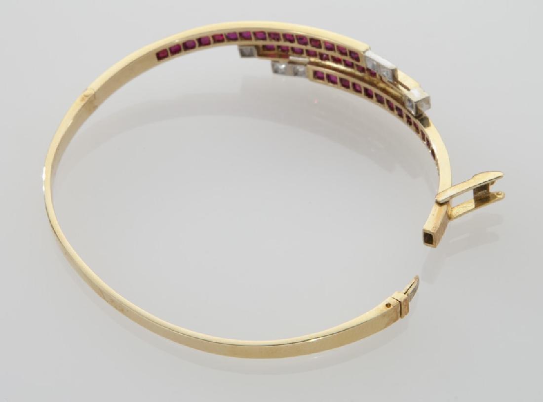 18K gold, diamond and ruby triple bypass bracelet. - 3