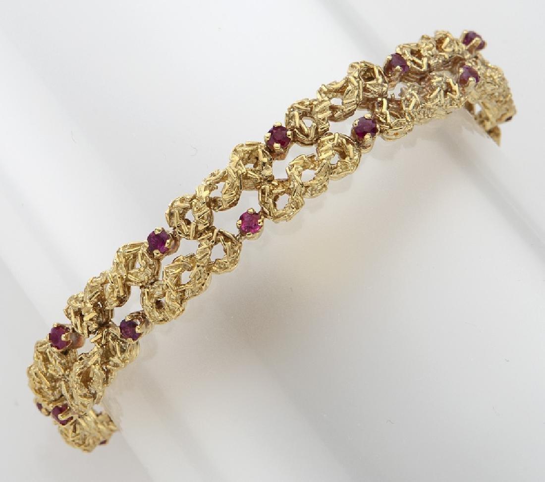 18K gold and ruby bracelet.