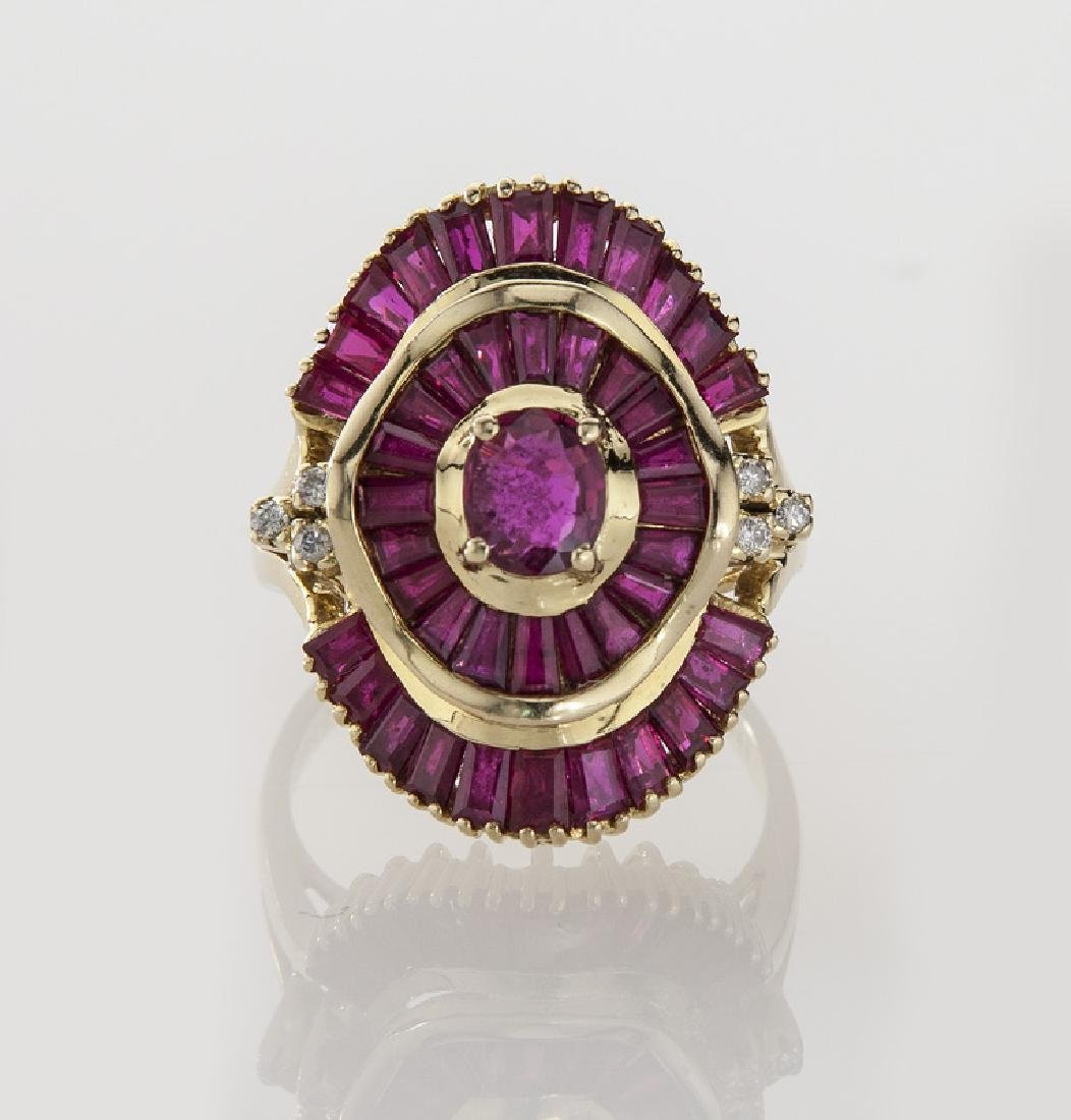 18K gold, diamond and ruby ballerina style ring. - 2