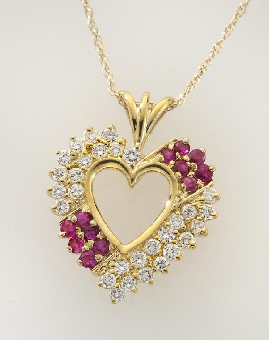 14K gold, diamond and ruby heart shaped pendant