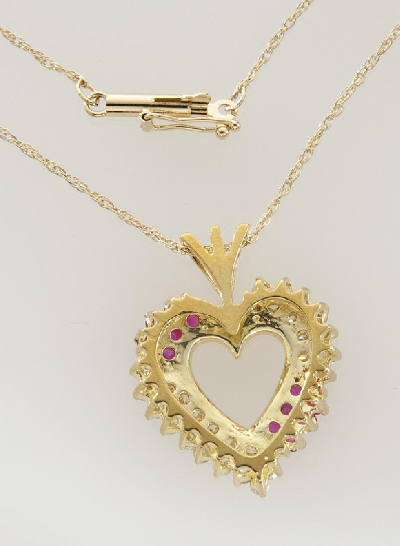 14K gold, diamond and ruby heart shaped pendant - 2