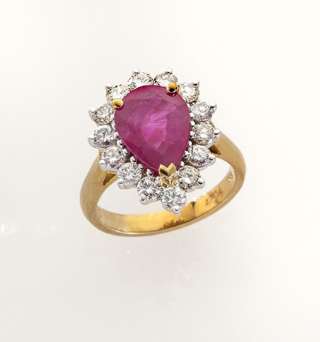 Platinum, 18K, diamond and ruby ring.