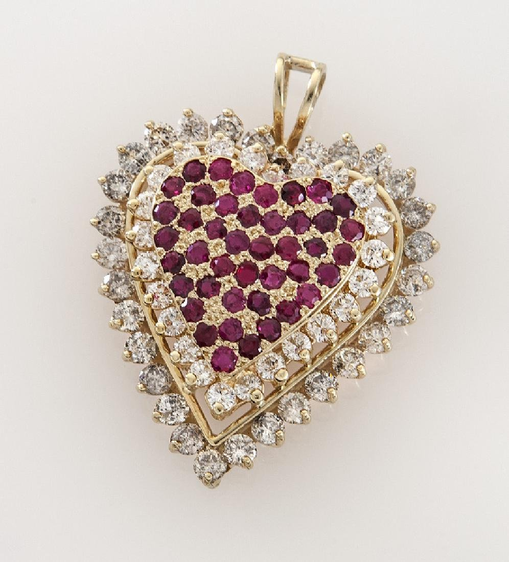 14K gold, diamond and ruby heart pendant