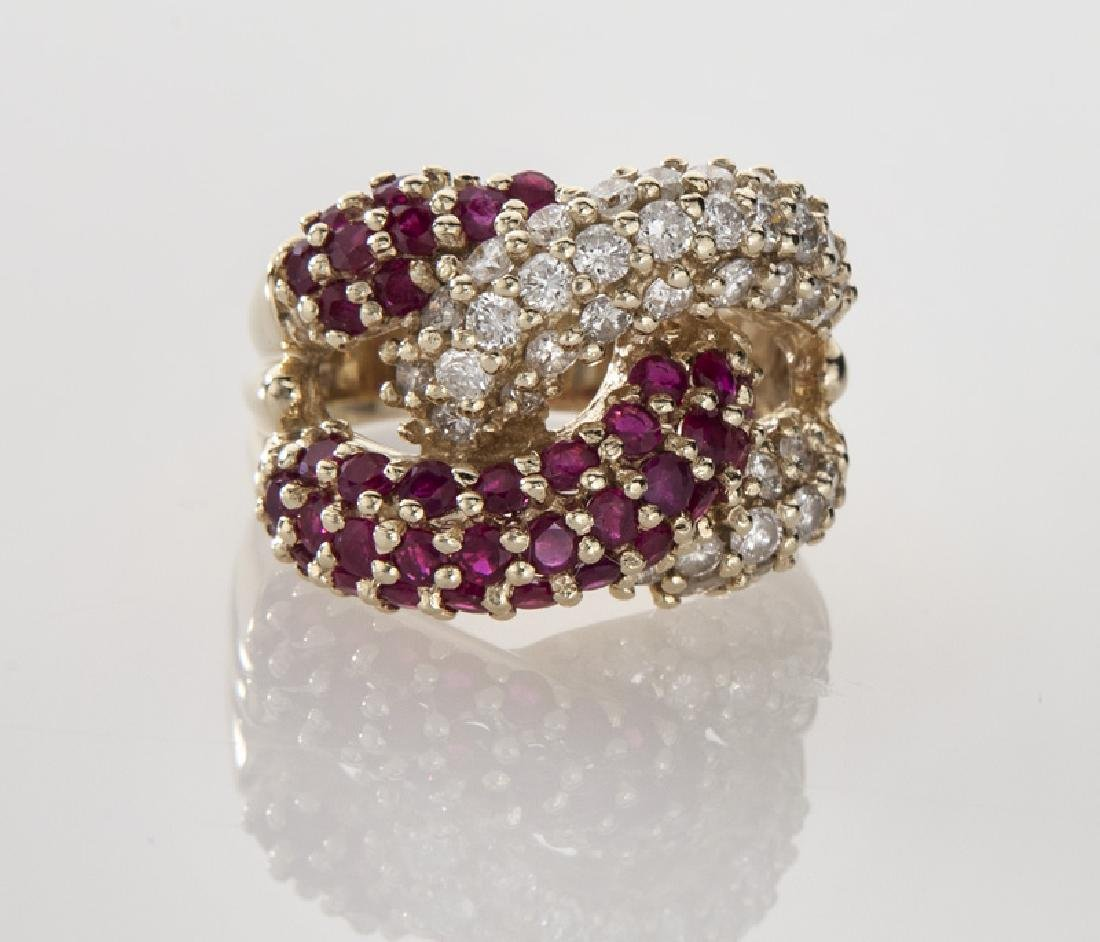 14K gold, diamond and ruby double knot ring. - 2
