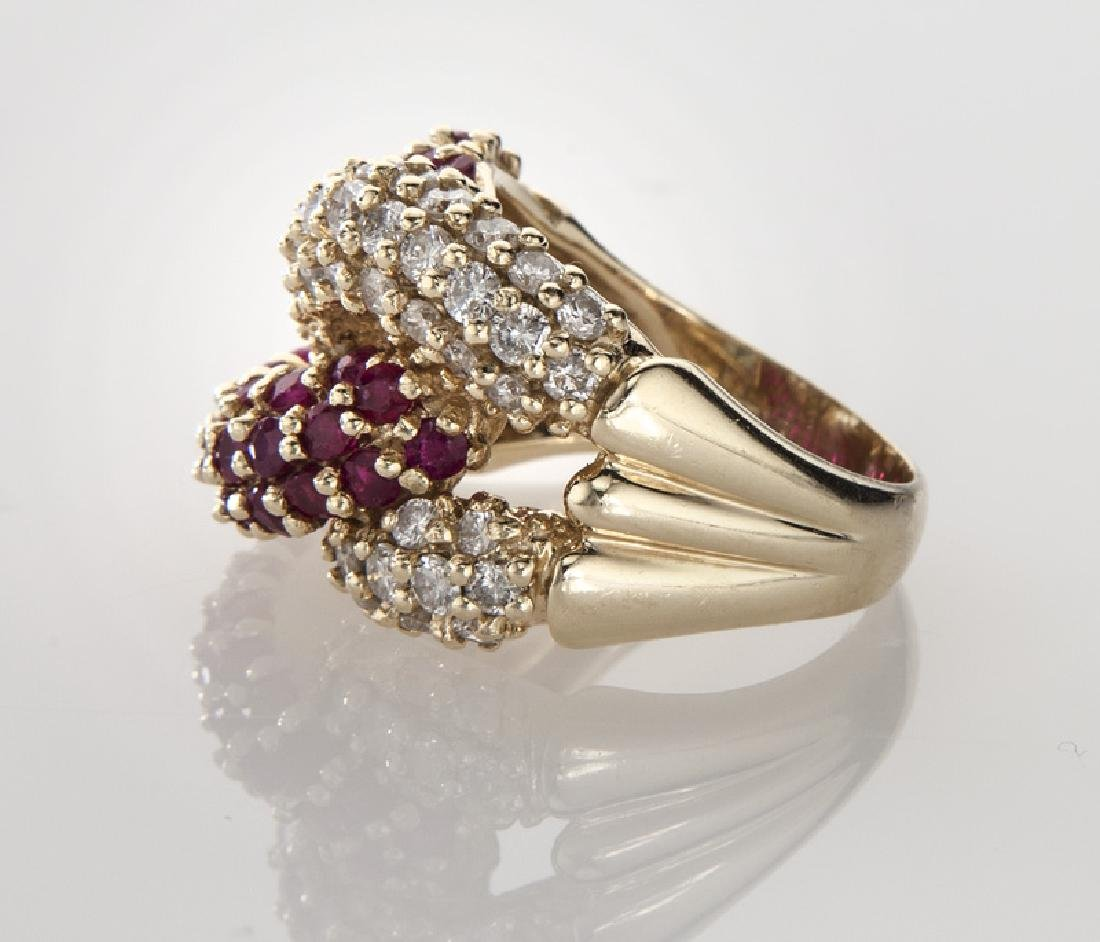 14K gold, diamond and ruby double knot ring. - 3