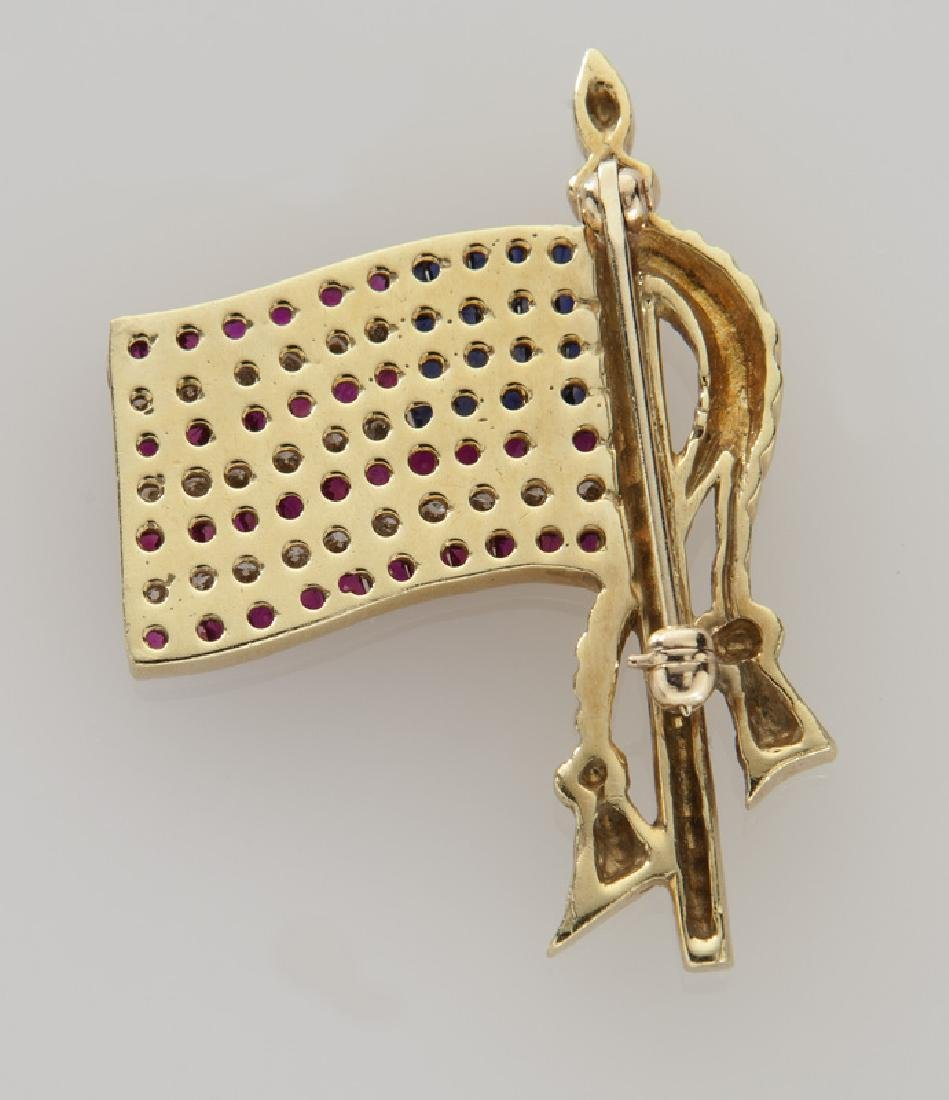 18K gold, diamond, sapphire and ruby flag brooch. - 2