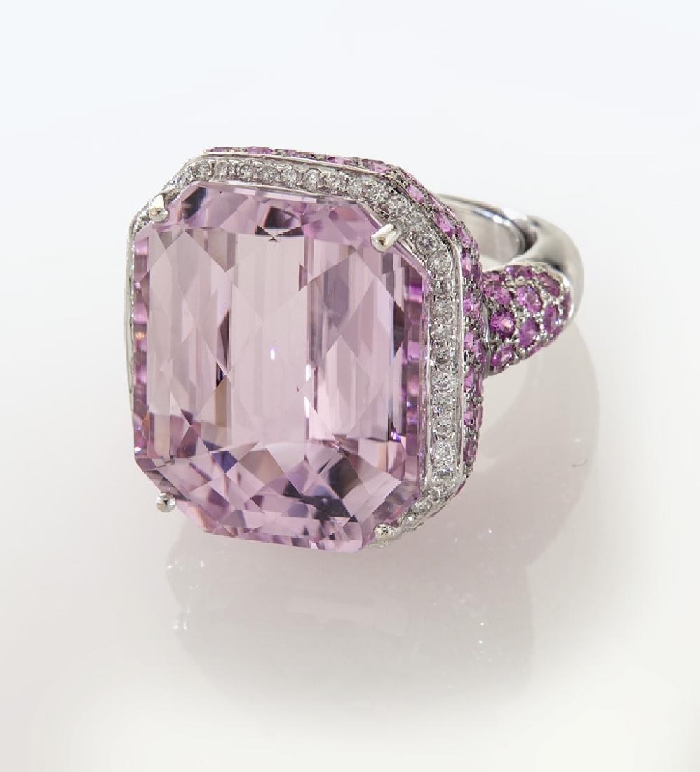 18K gold, diamond, kunzite and pink sapphire ring,
