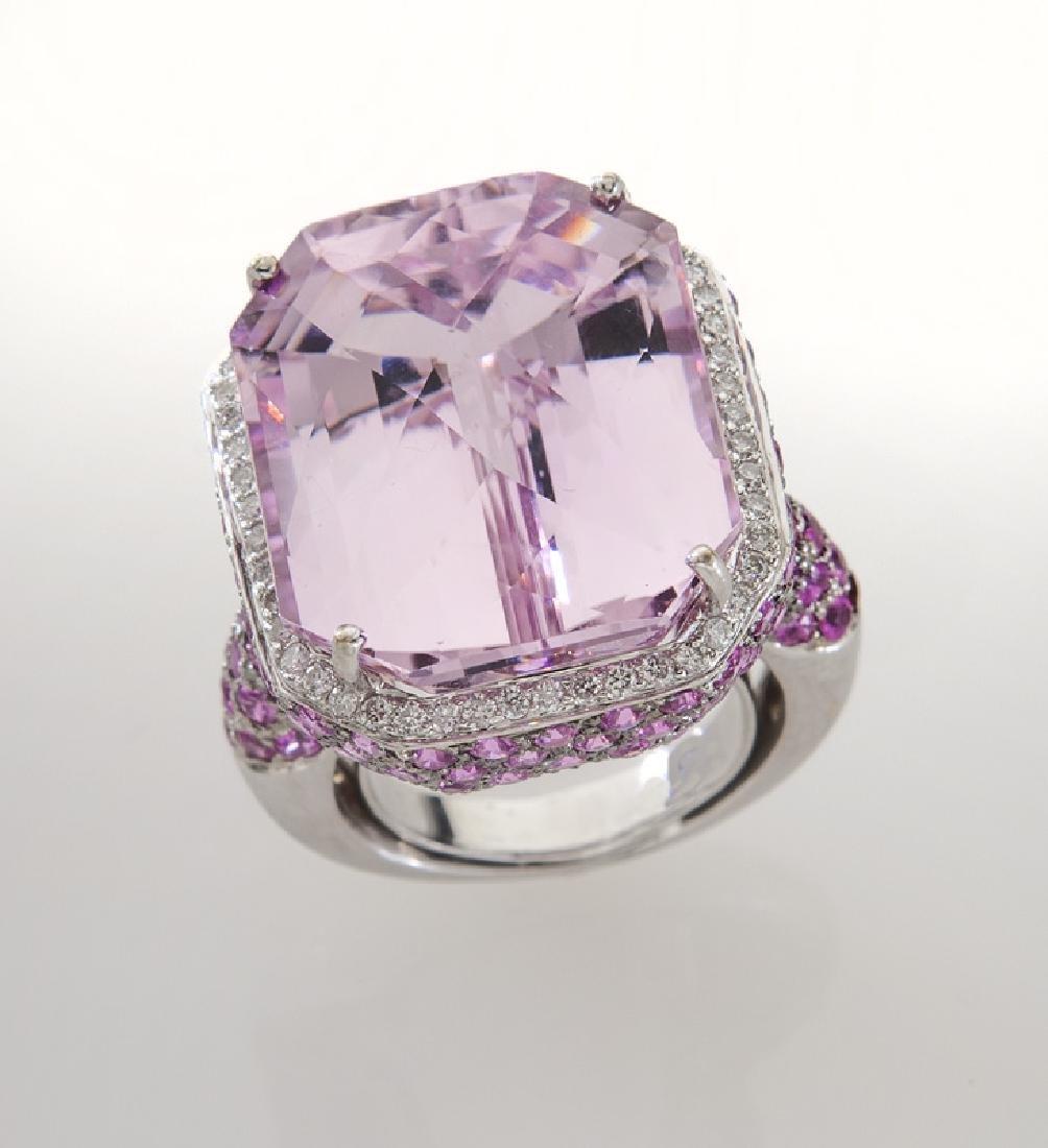 18K gold, diamond, kunzite and pink sapphire ring, - 2