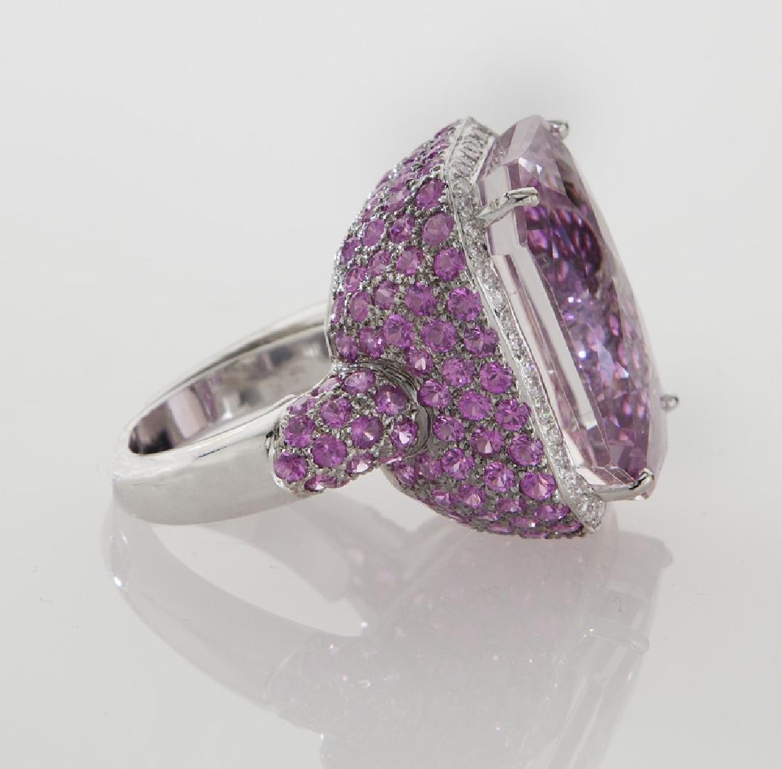 18K gold, diamond, kunzite and pink sapphire ring, - 3