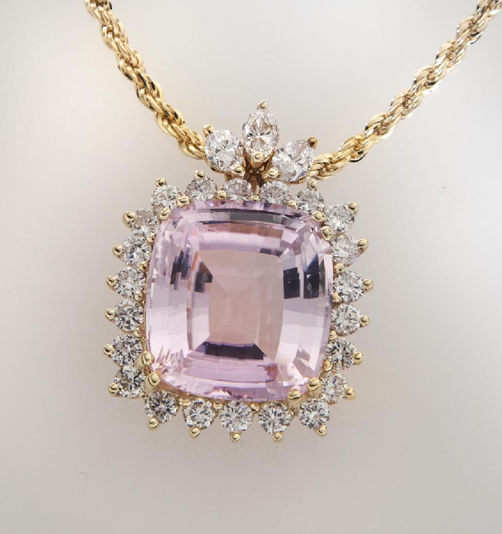 Italian 14K gold, diamond and kunzite pendant