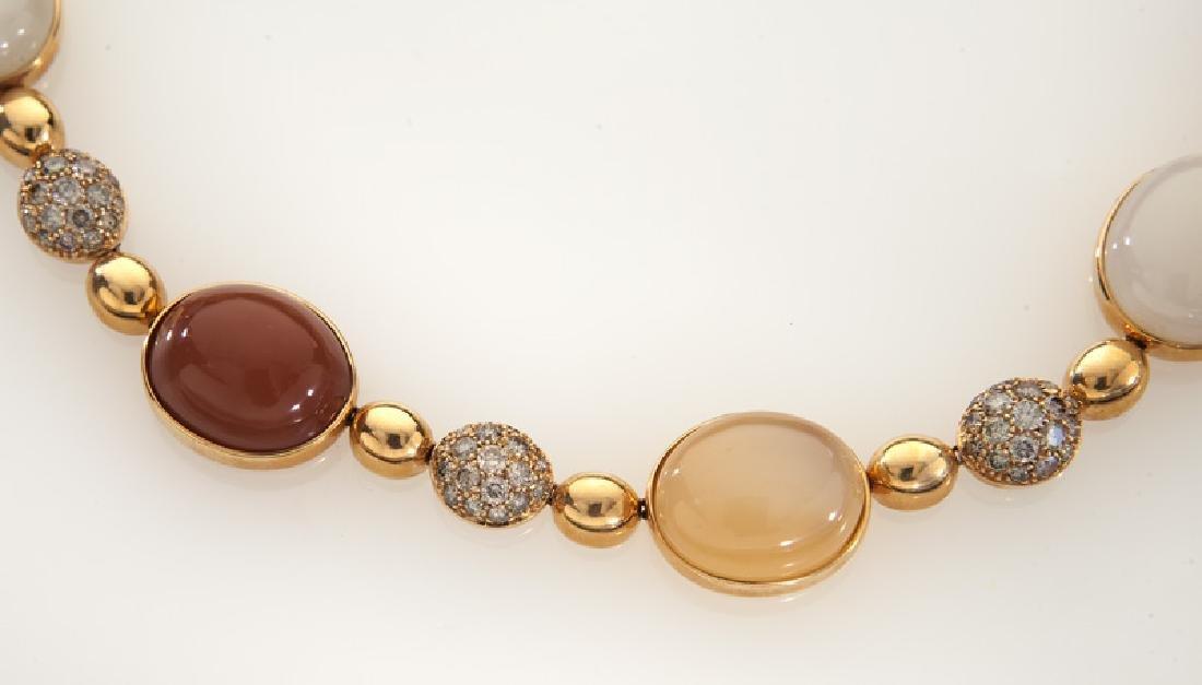 Italian 18K rose gold, diamond and moonstone - 2