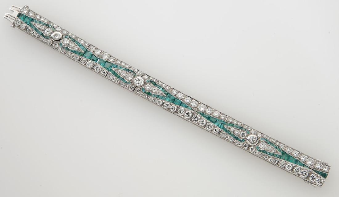 Art Deco platinum, diamond and emerald bracelet - 2