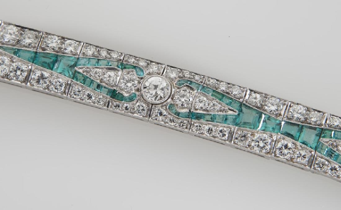 Art Deco platinum, diamond and emerald bracelet - 4