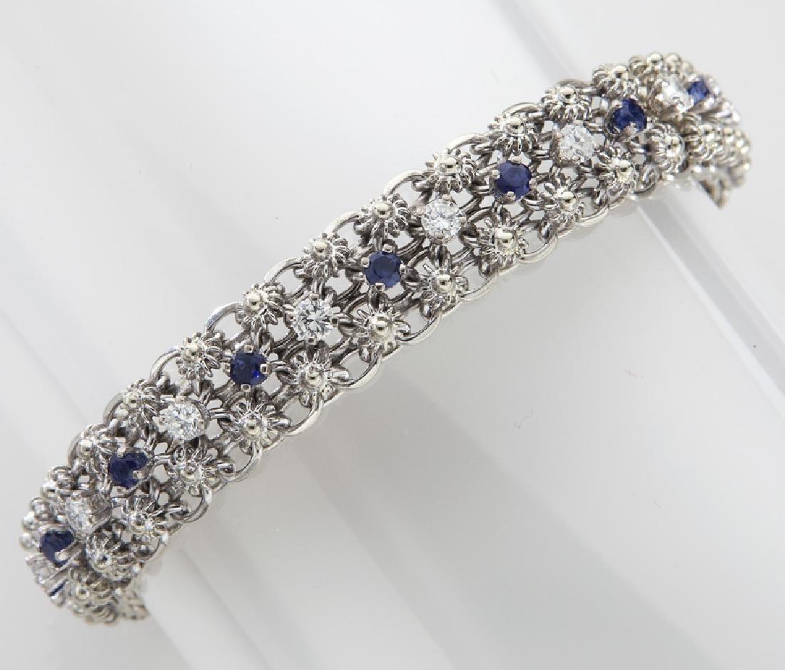 Deco/Retro 18K gold, diamond & sapphire bracelet.