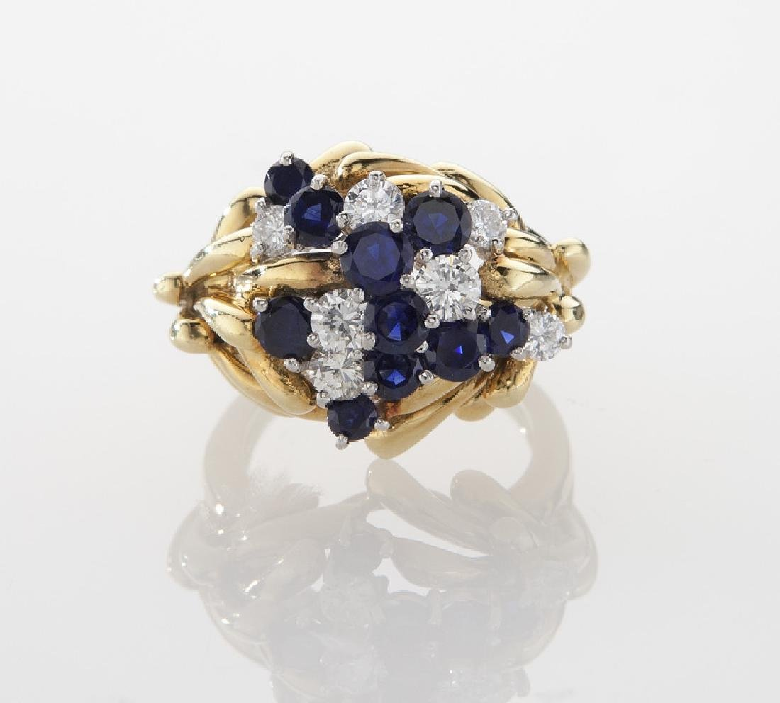 Retro platinum, 18K, diamond and sapphire ring. - 2