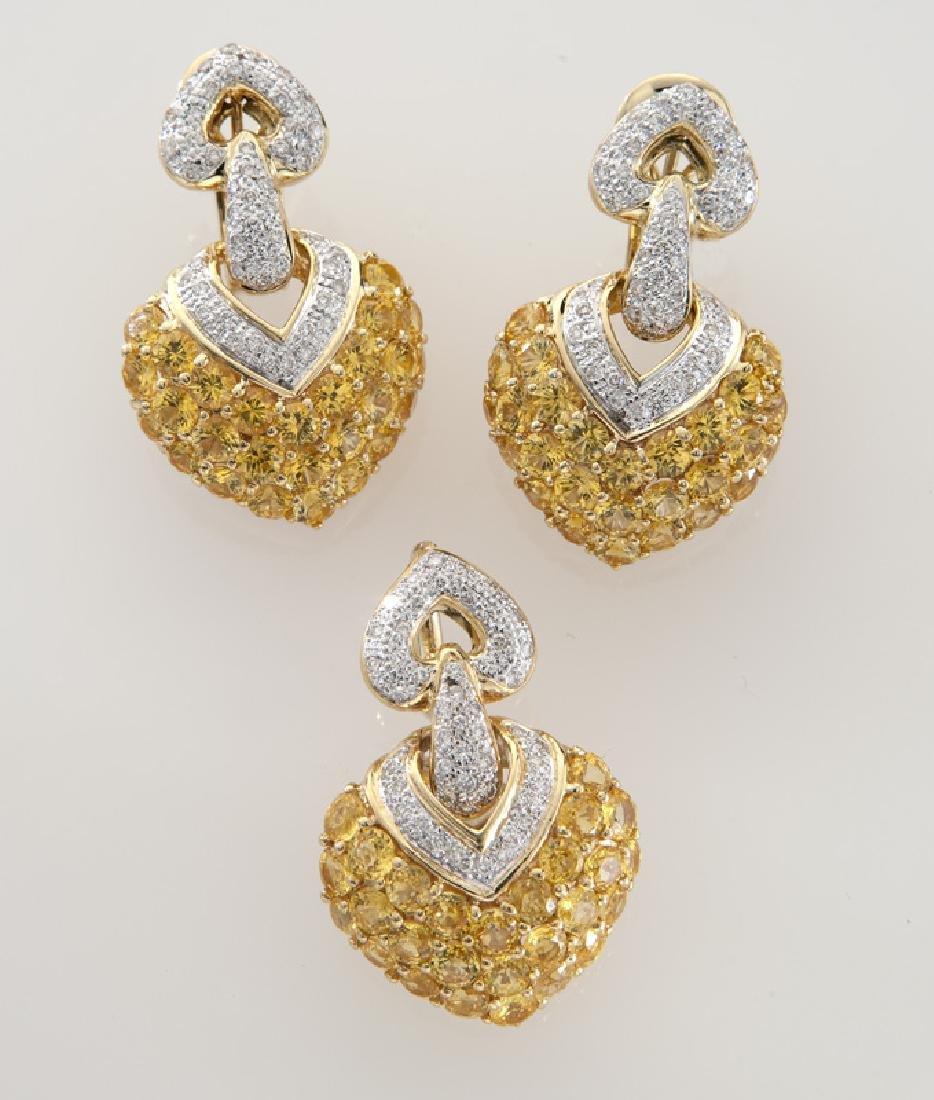 2 Pcs. 18K gold, diamond and sapphire heart-shaped
