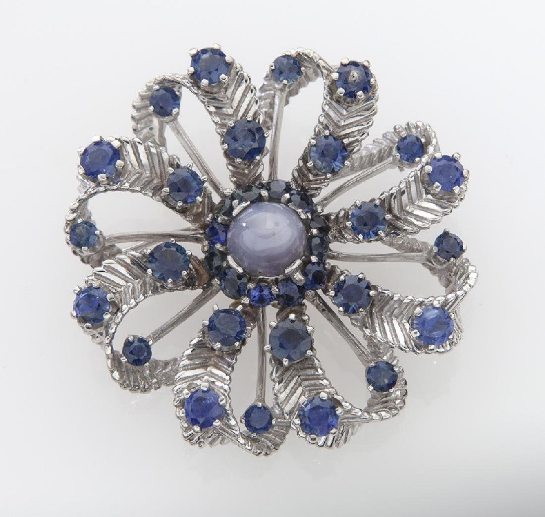 Retro 14K gold and sapphire brooch