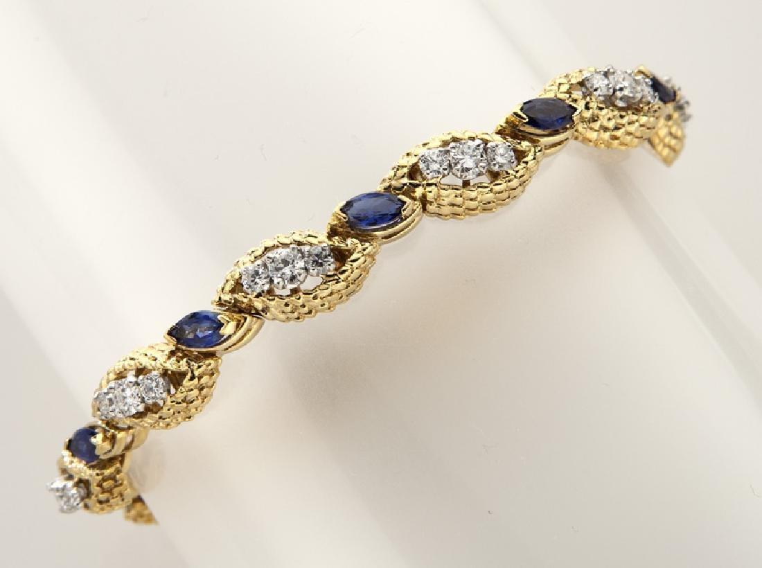 18K gold, diamond and sapphire bracelet.