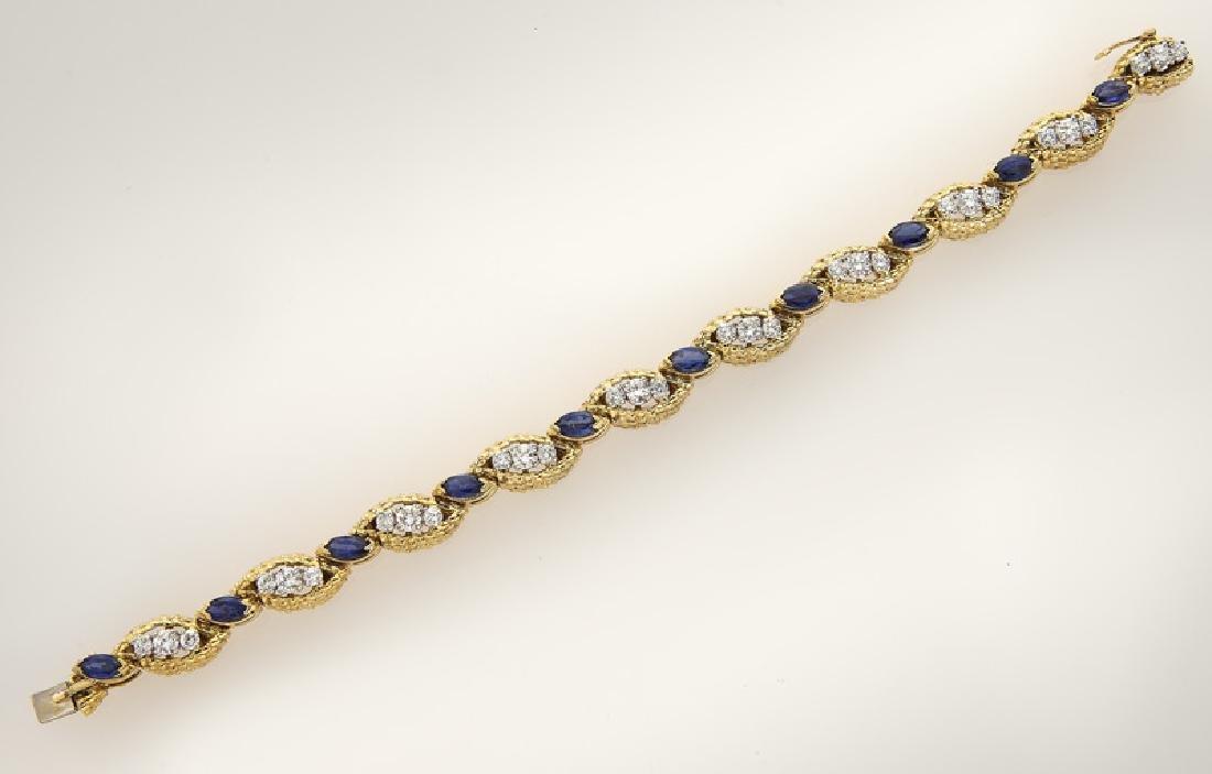 18K gold, diamond and sapphire bracelet. - 2