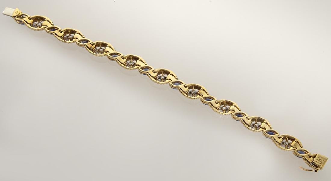 18K gold, diamond and sapphire bracelet. - 3