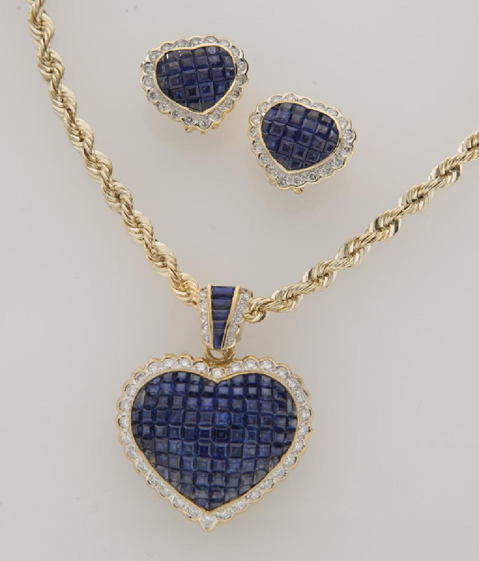 2 Pcs. 18K gold, diamond and sapphire jewelry,