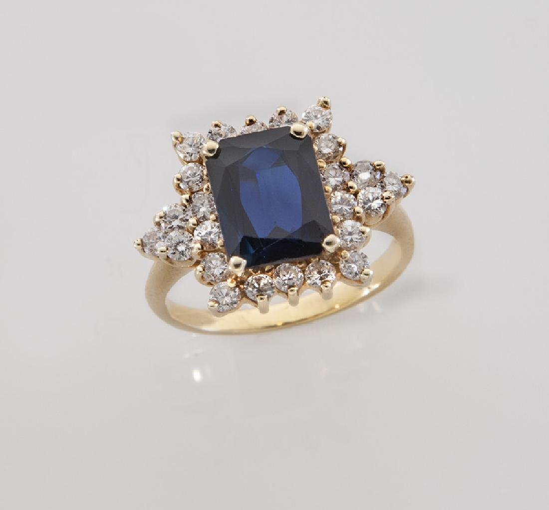 14K yellow gold, diamond and sapphire ring