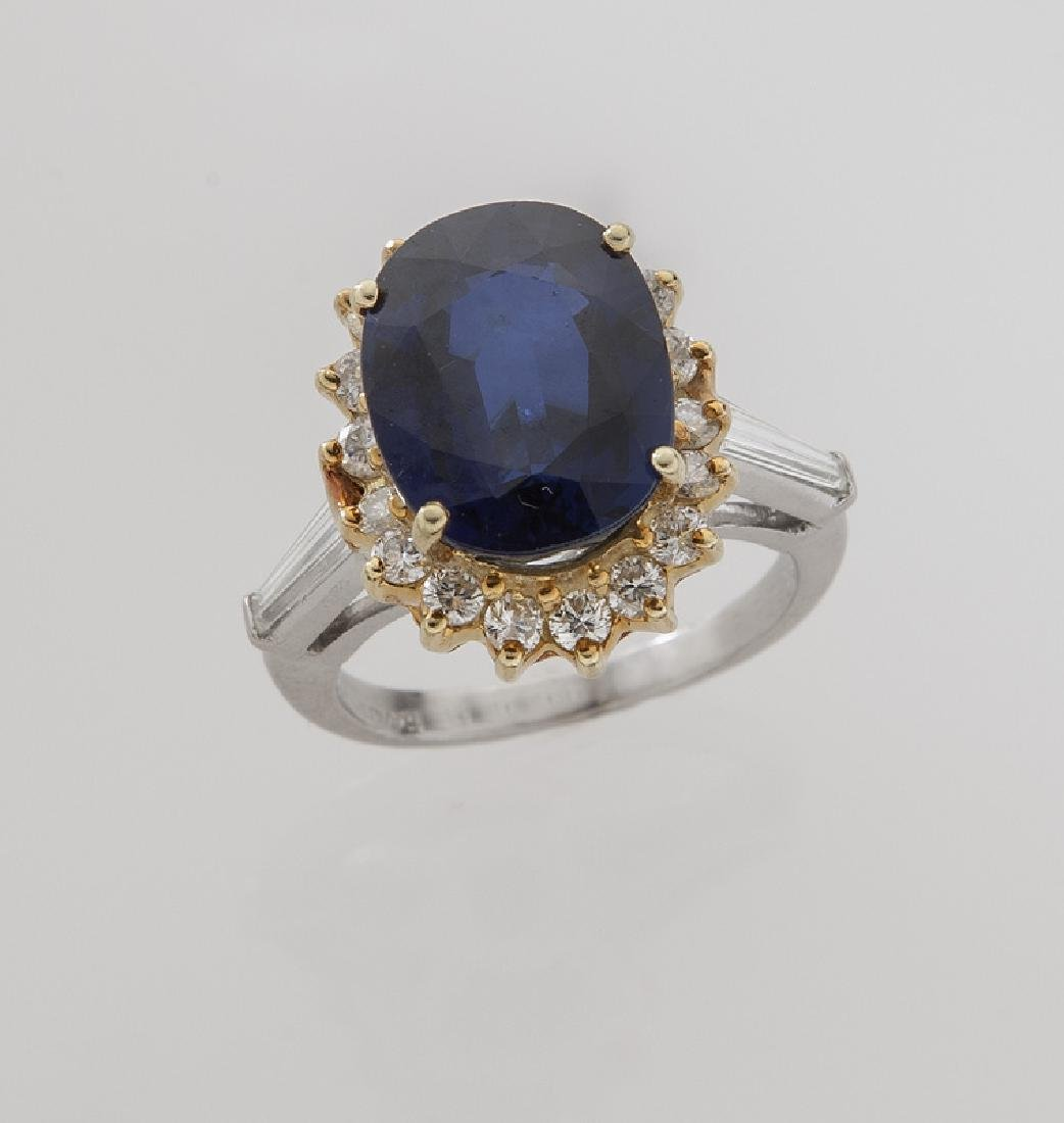 18K gold, diamond and sapphire ring,