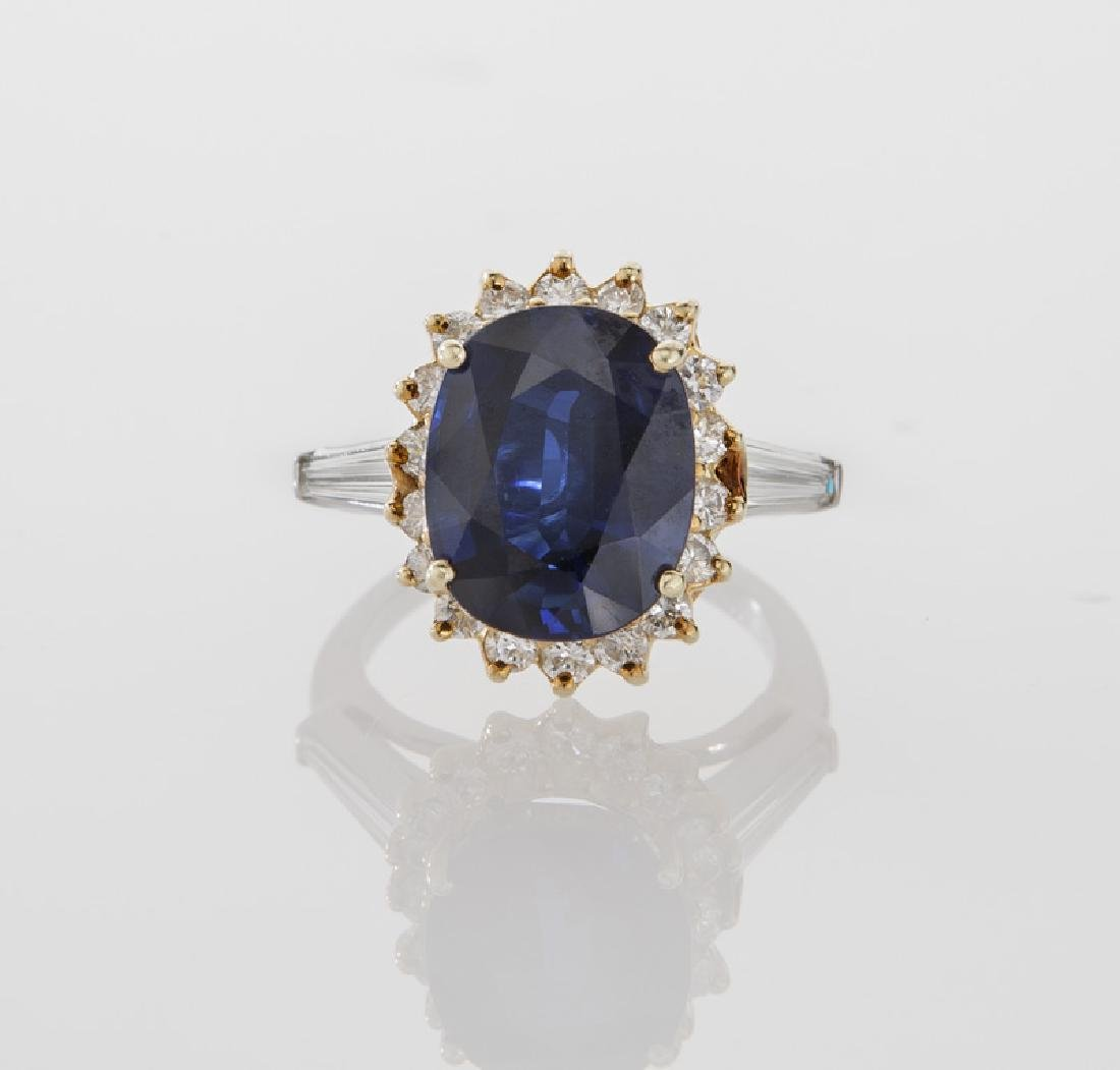 18K gold, diamond and sapphire ring, - 2
