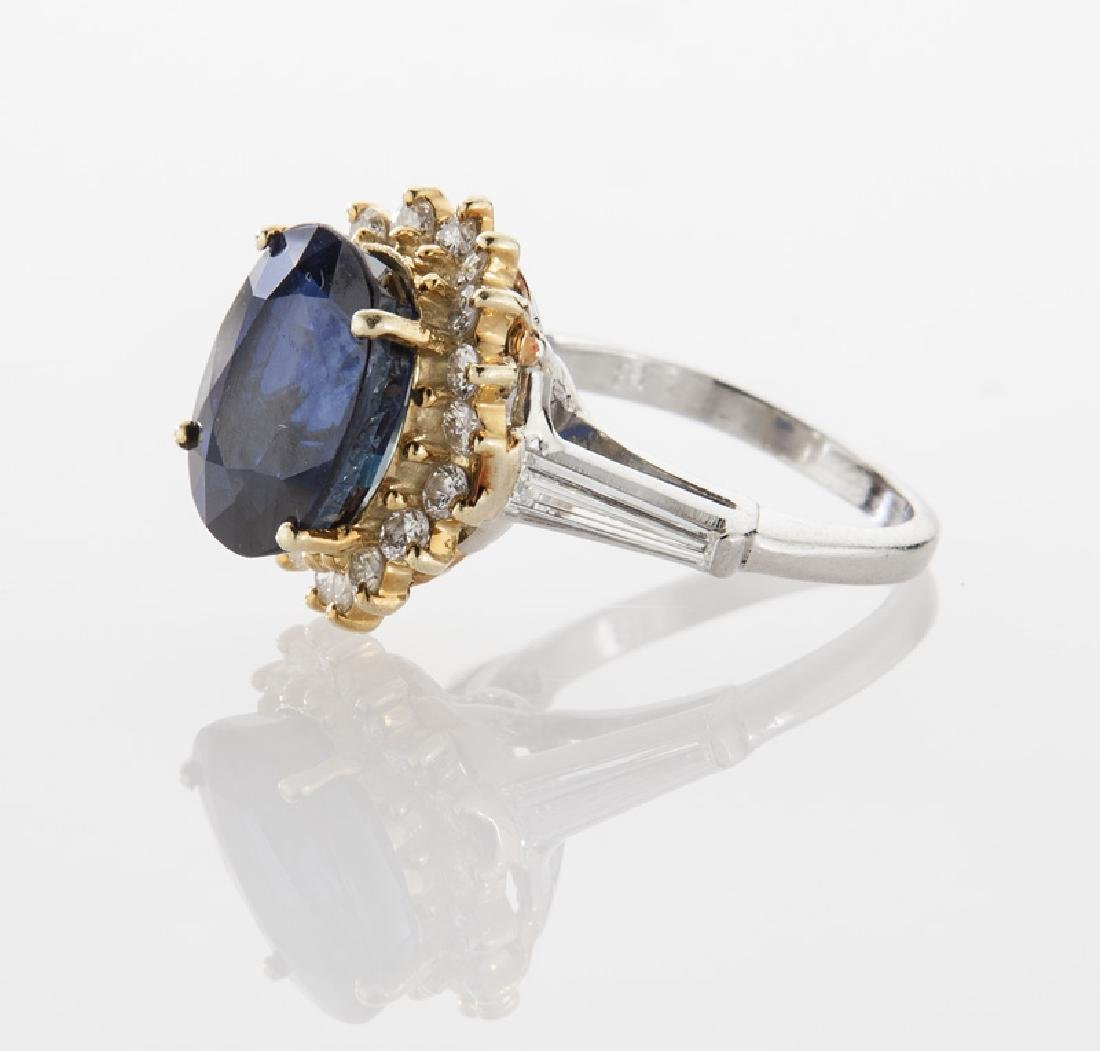 18K gold, diamond and sapphire ring, - 3