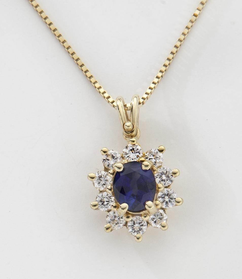 18K gold, diamond and sapphire pendant