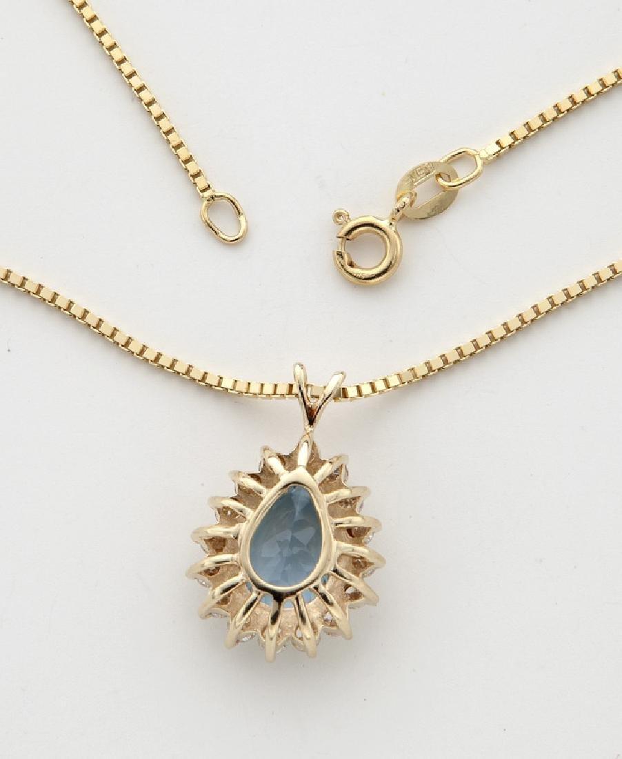 14K yellow gold, diamond and aquamarine necklace. - 2