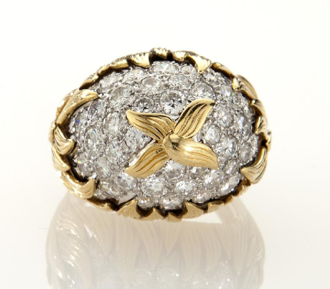 18K gold and diamond dome ring with flame motif - 2