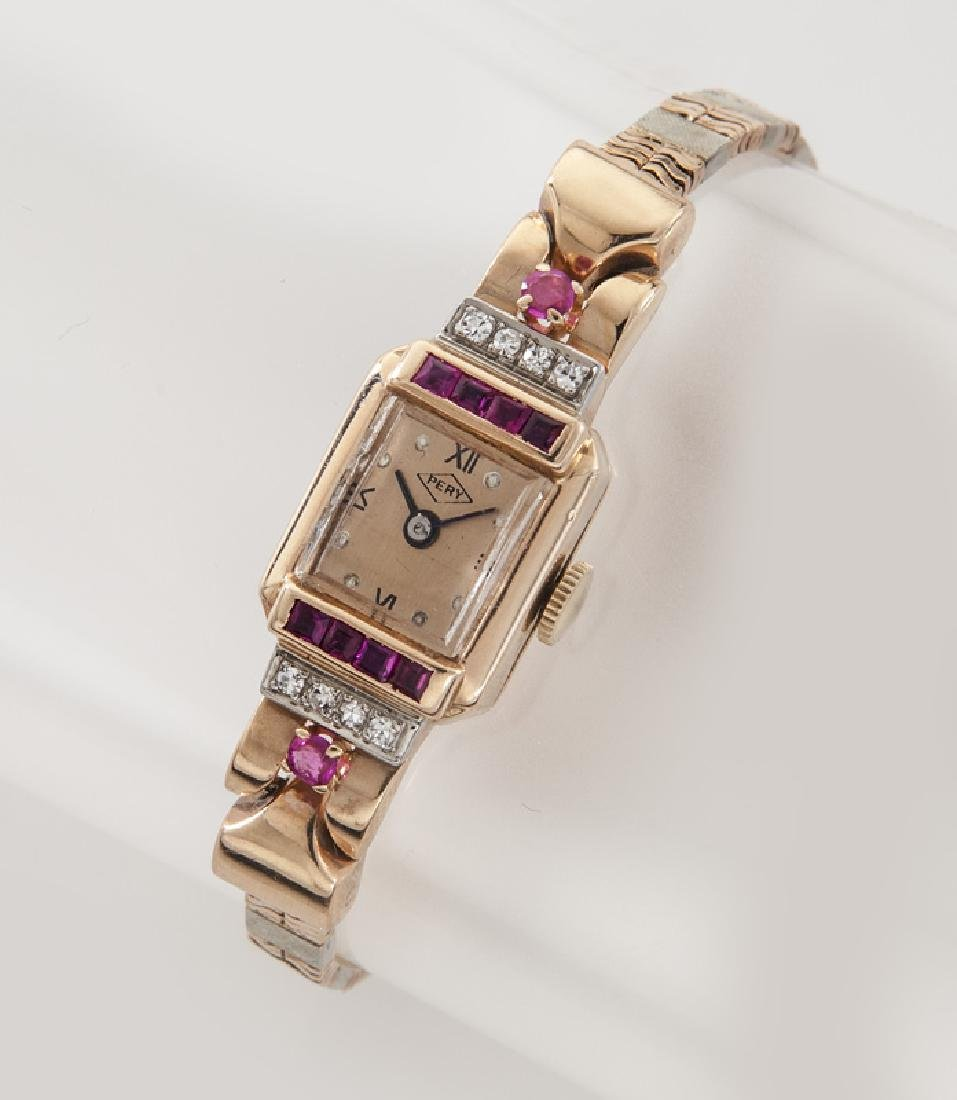 Deco/Retro Pery 14K, diamond & ruby wristwatch