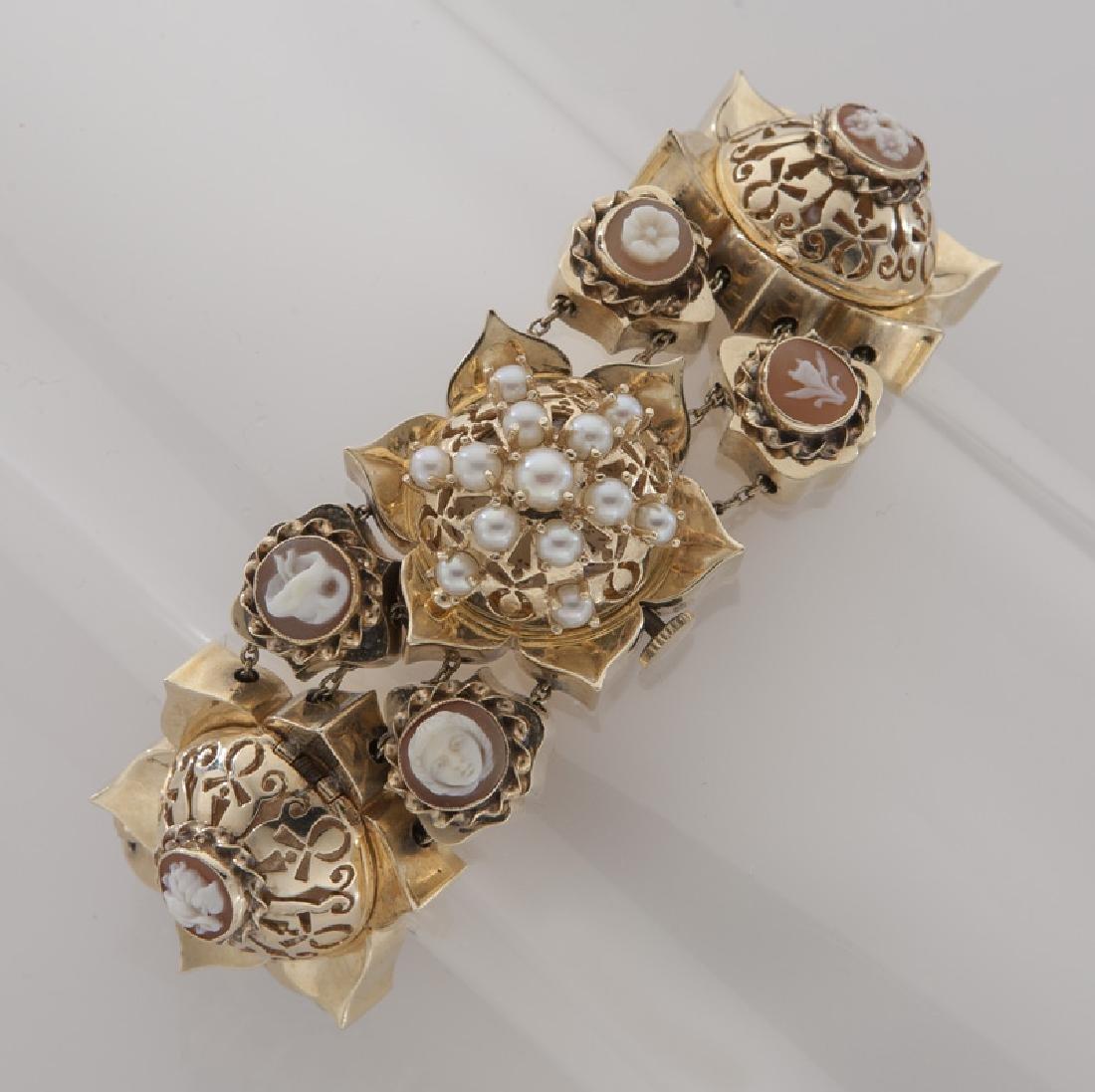 Retro 14K gold slide bracelet wristwatch