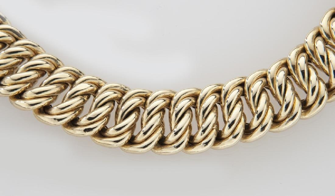 14K yellow gold cable link necklace. - 3