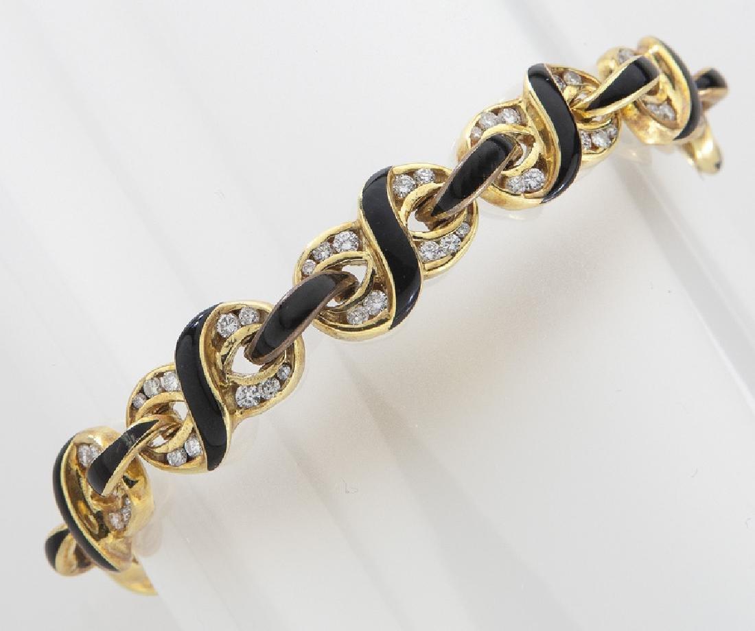 Mavito 18K gold, diamond and enamel bracelet.