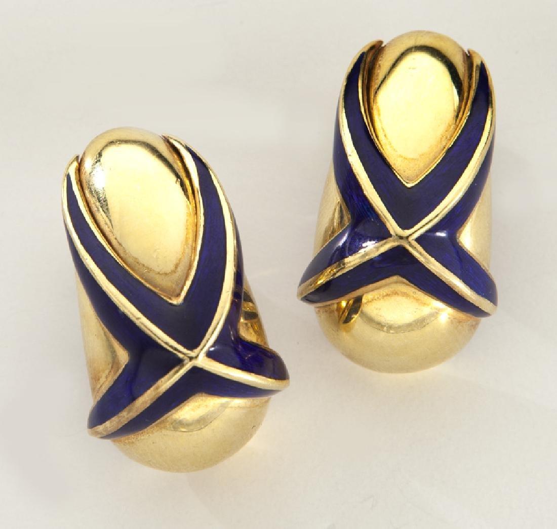 Pair of Mavito 18K gold and blue enamel earrings