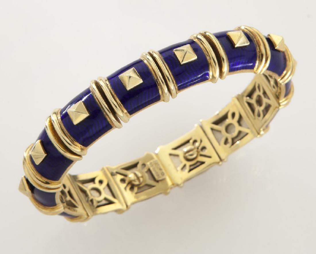 Hidalgo 18K and enamel flexible cuff bracelet.