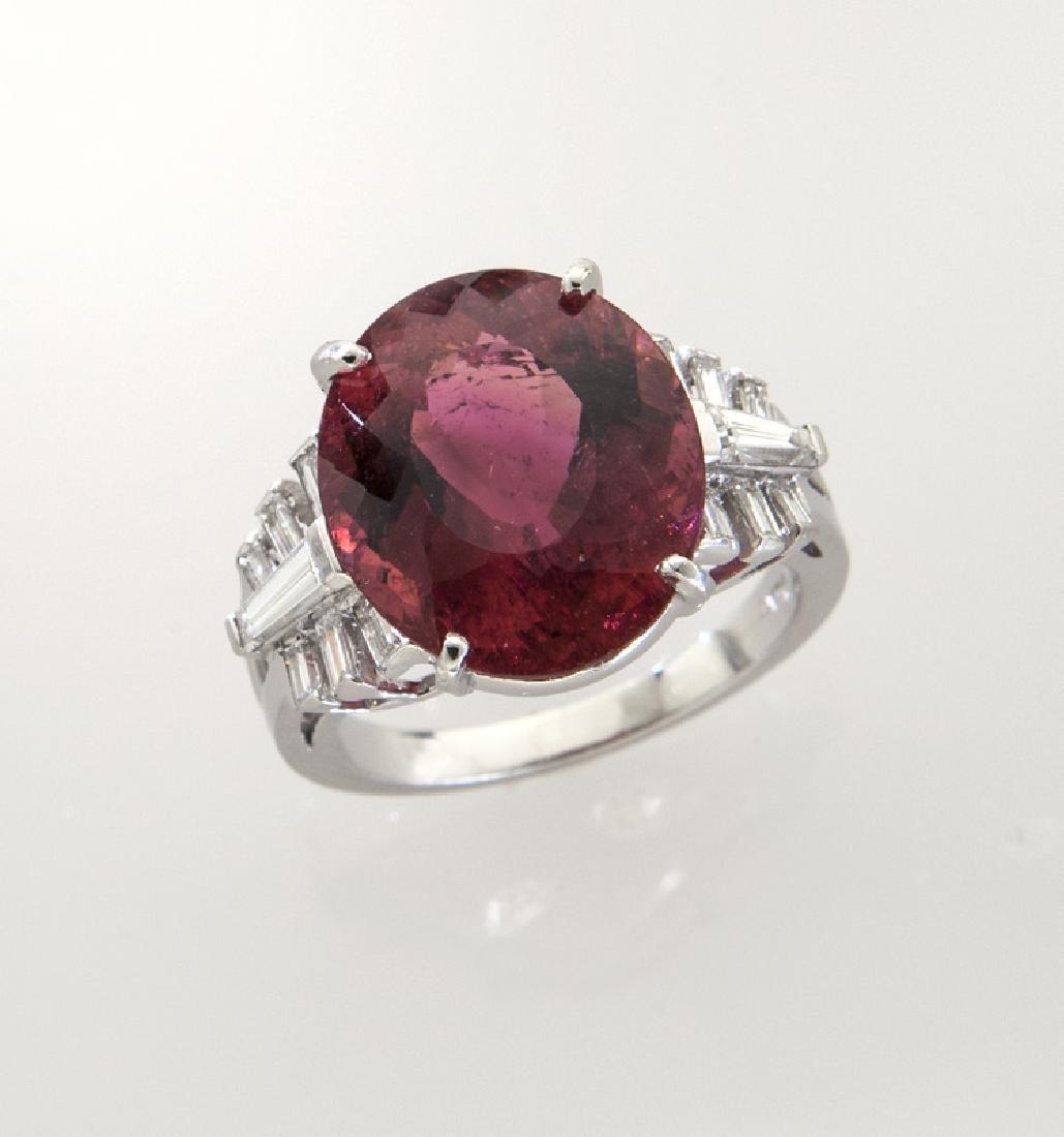 Platinum, diamond and rubellite tourmaline ring