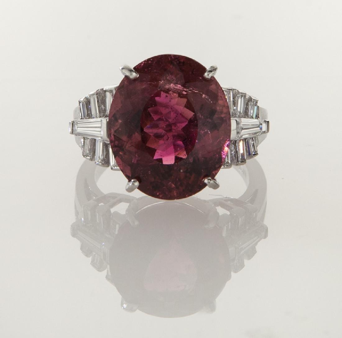 Platinum, diamond and rubellite tourmaline ring - 2