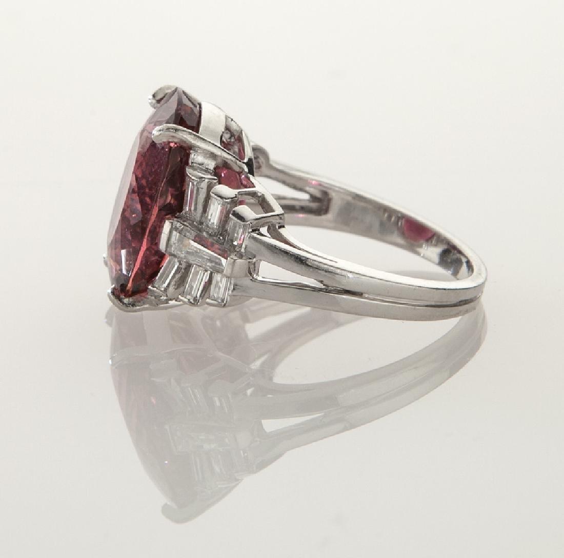 Platinum, diamond and rubellite tourmaline ring - 3