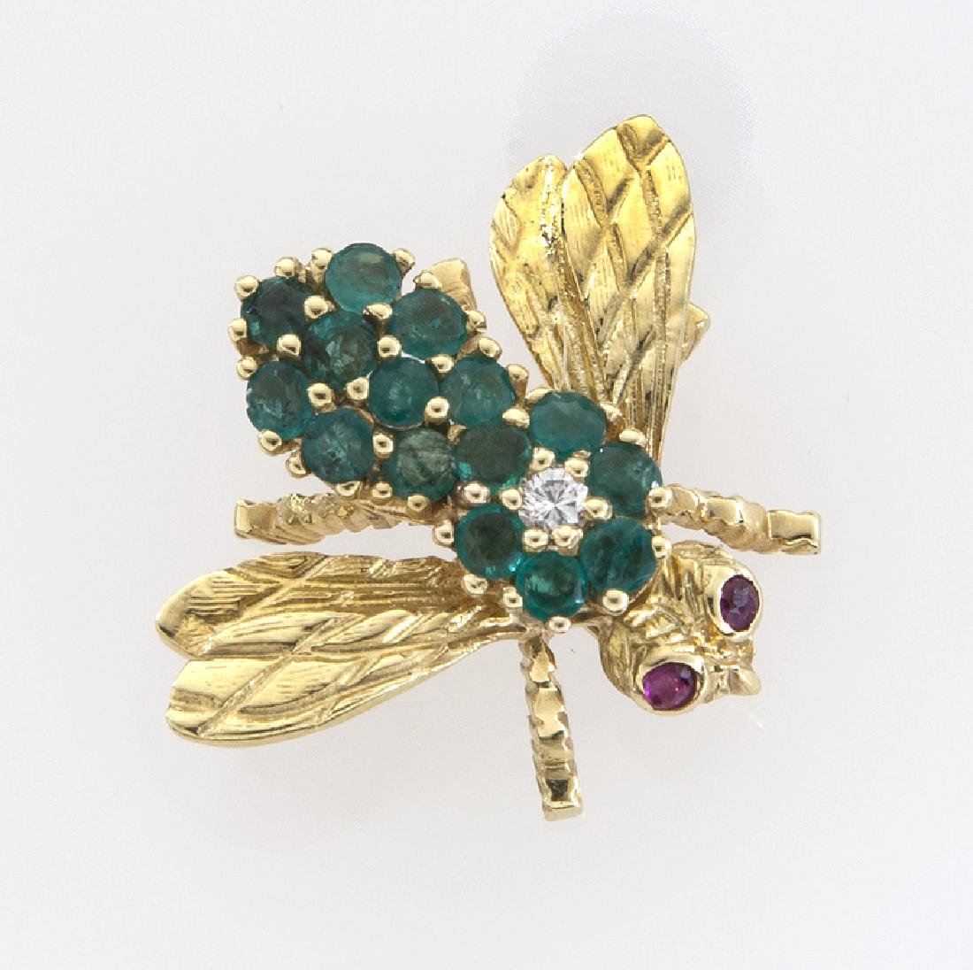 Rosenthal 18K gold, diamond, emerald and ruby bee