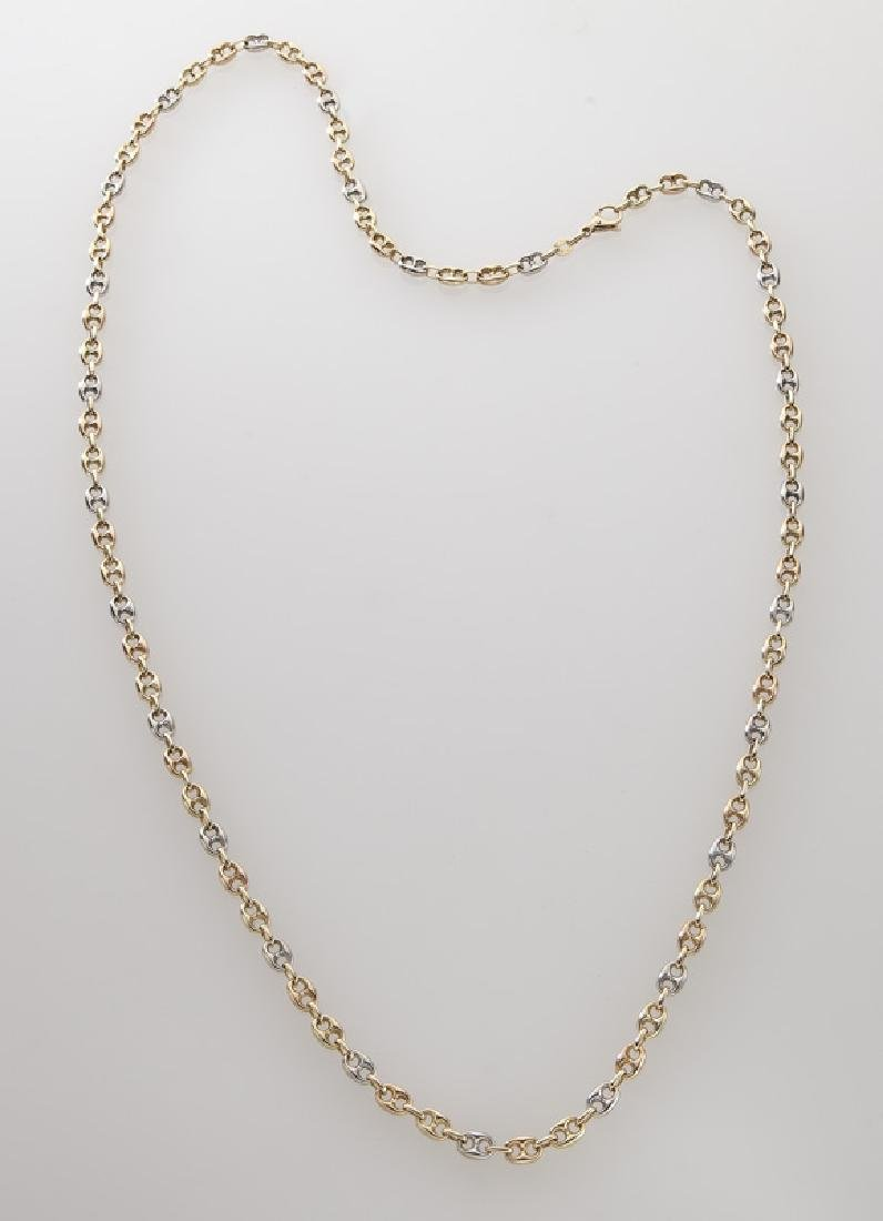 Italian 14K tri-color gold link necklace.