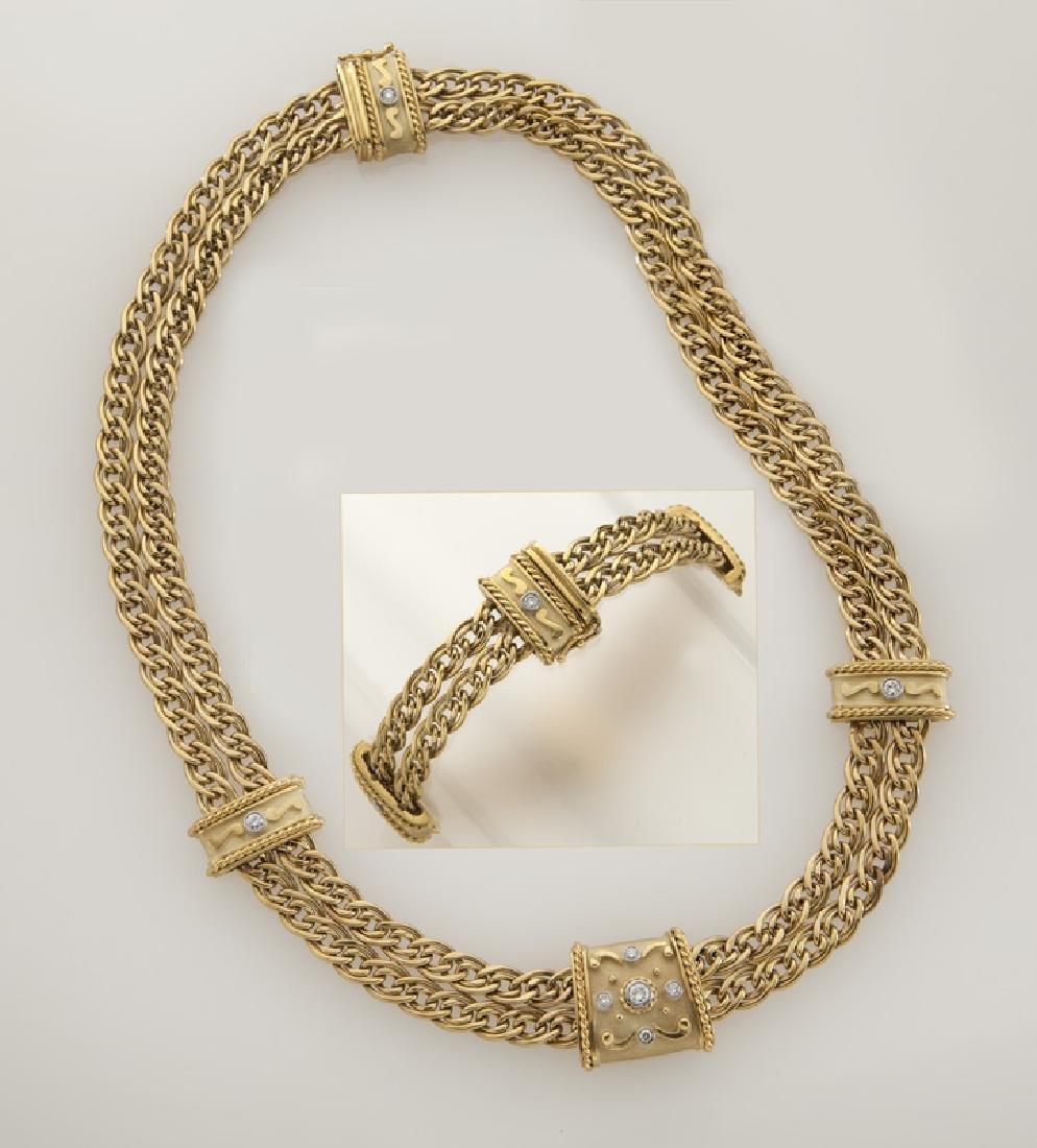 2 Pcs. ANF 18K gold and diamond jewelry