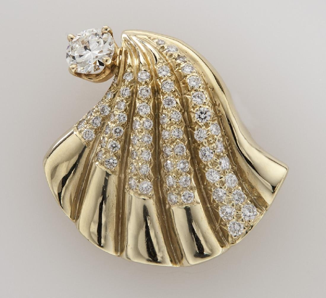 Retro 14K gold and diamond shell brooch/pendant