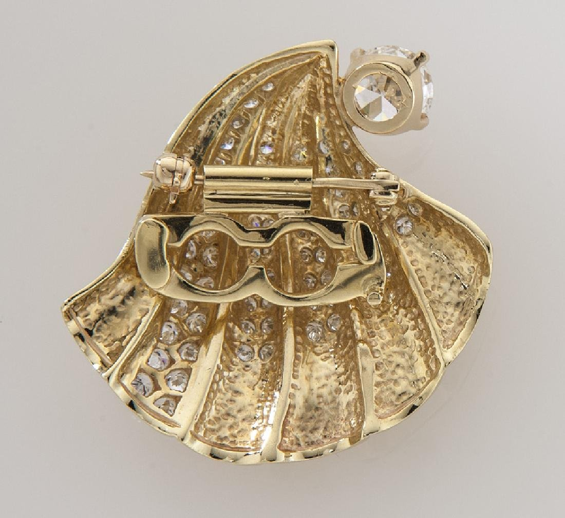 Retro 14K gold and diamond shell brooch/pendant - 2